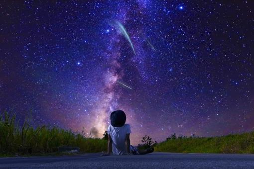 流れ星に願い事をする子供