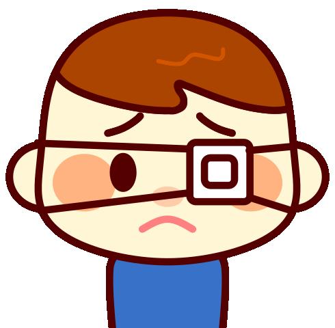 眼帯をした男の子のイラスト
