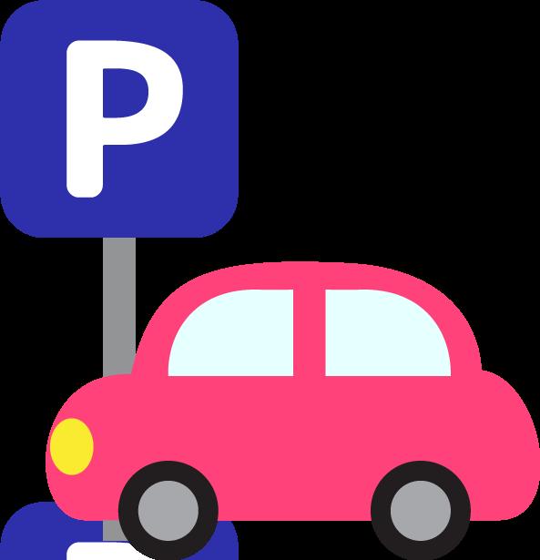 駐車場に止めている車のイラスト