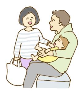赤ちゃんとパパとママのイラスト