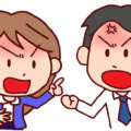 行橋弁で口喧嘩している男女のイラスト
