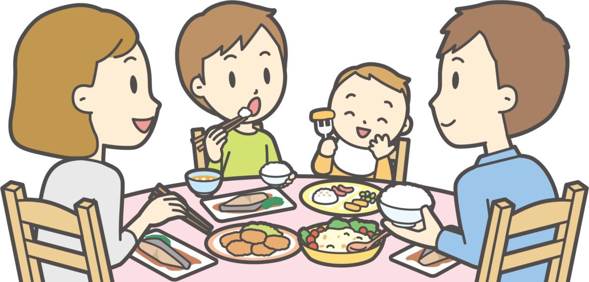 家族で夕食を取っているイラスト