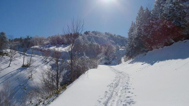 標高の高い山に雪が積もっている風景