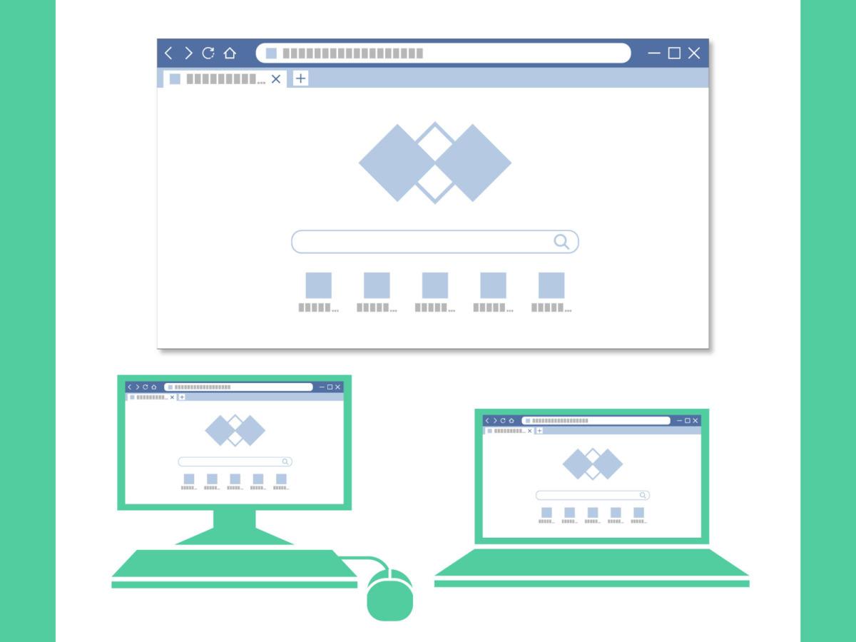 複数の異なるブラウザ例を表示しているイラスト