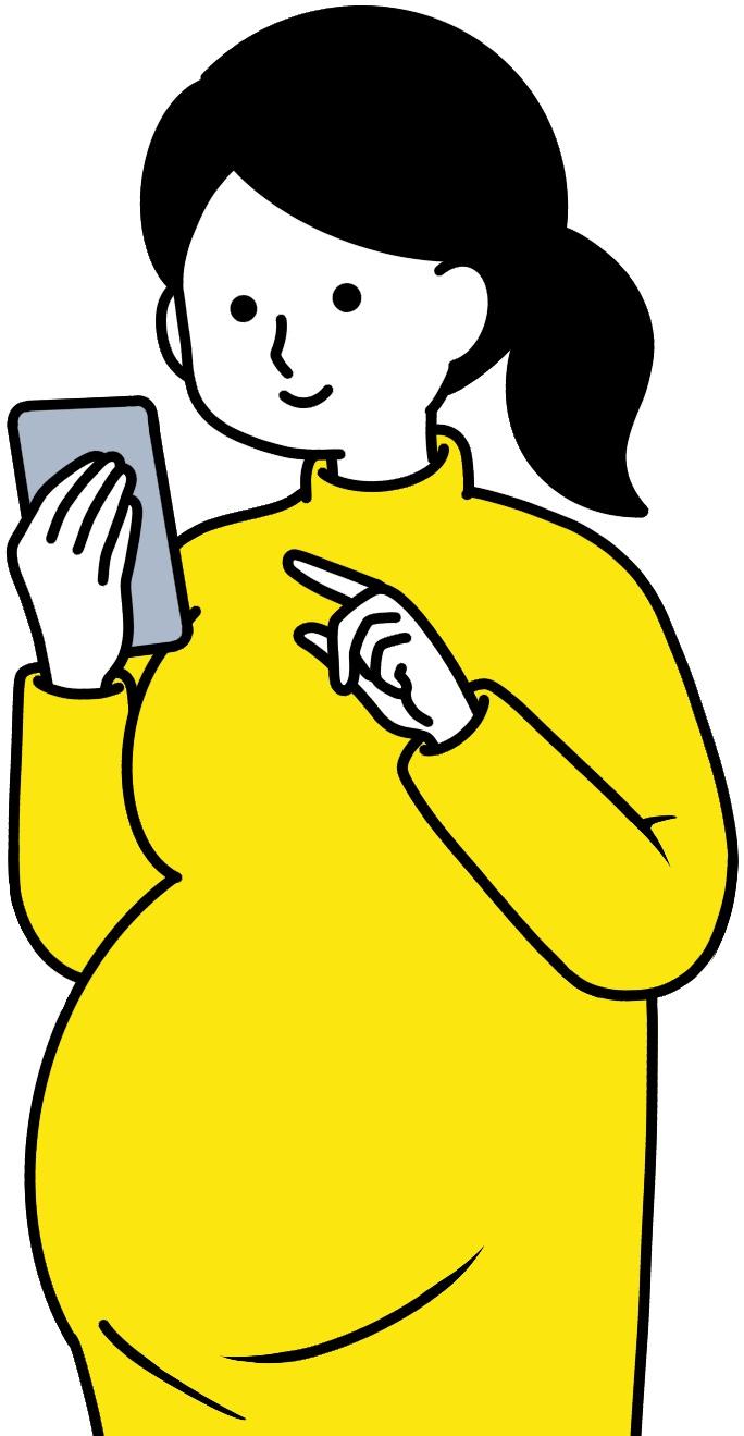 スマホのアプリで母子モを見る妊婦
